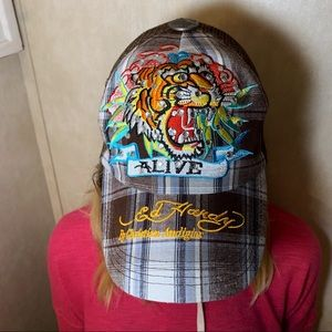 ED HARDY embroidered and embellished hat.